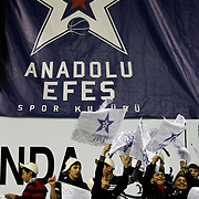 Anadolu Efes's Supporters fans during their Turkish Basketball League match Anadolu Efes between Olin Edirne at the Ayhan Sahenk Arena in Istanbul, Turkey on Sunday, 17 March, 2013. Photo by TURKPIX