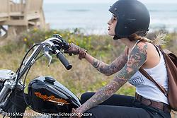 Kissa Von Addams riding Highway A1A along the coast during Daytona Bike Week 75th Anniversary event. FL, USA. Thursday March 3, 2016.  Photography ©2016 Michael Lichter.