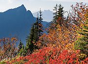 Hall Peak, Mount Pilchuck, fall foliage colors, and the valley of the South Fork of the Stillaguamish River are seen from Mount Dickerman Trail #710 in Mount Baker-Snoqualmie National Forest. Start hiking from the trailhead on the Mountain Loop Highway east of Verlot, Washington, USA.