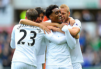 CELE - Swansea City's Leroy Fer celebrates scoring the opening goal <br /> <br /> Photographer Ashley Crowden/CameraSport<br /> <br /> The Premier League - Swansea City v Liverpool  - Saturday 1st October 2016 - Liberty Stadium - Swansea<br /> <br /> World Copyright © 2016 CameraSport. All rights reserved. 43 Linden Ave. Countesthorpe. Leicester. England. LE8 5PG - Tel: +44 (0) 116 277 4147 - admin@camerasport.com - www.camerasport.com
