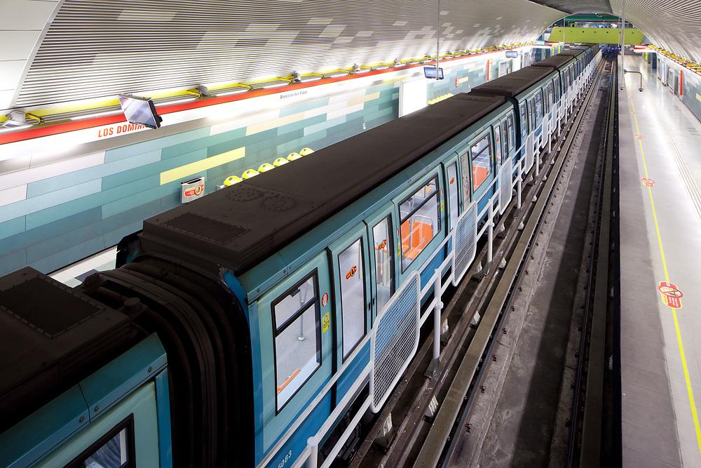 Santiago de Chile - Train at Los Dominicos Subway Station.