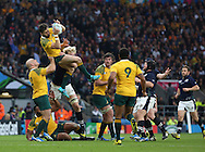 Australia's Adam Ashley-Cooper catching the ball from a Scottish restart during the Rugby World Cup Quarter Final match between Australia and Scotland at Twickenham, Richmond, United Kingdom on 18 October 2015. Photo by Matthew Redman.