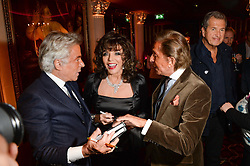 Left to right, GIANCARLO GIAMMETTI, JOAN COLLINS and VALENTINO GARAVANI at a party to celebrate the publication of 'Passion for Life' by Joan Collins held at No41 The Westbury Hotel, Mayfair, London on21st October 2013.