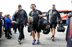 Omar Mouneimne of Worcester Warriors and staff arrive at the AJ Bell Stadium - Mandatory by-line: Matt McNulty/JMP - 24/03/2018 - RUGBY - AJ Bell Stadium - Manchester, England - Sale Sharks v Worcester Warriors - Aviva Premiership