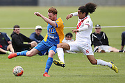 Waitakere United's Dylan Manickum, right, challenges Southern United's Danny Ledwith, left, for the ball in the Stirling Sports Premiership football match, Peter Johnstone Park, Mosgiel, New Zealand, Saturday, January 21, 2017. © Copyright photo: Adam Binns / www.photosport.nz