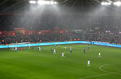 A general view of the action during the match