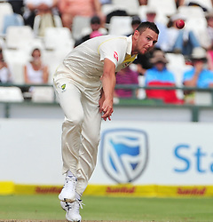 Cape Town-180324 Australian fast bowler Josh Mash bowling  against  South Africa in the secong Innings of the 3rd sunfoil cricket test at Newlands cricket stadium..Photograph:Phando Jikelo/African News Agency/ANA