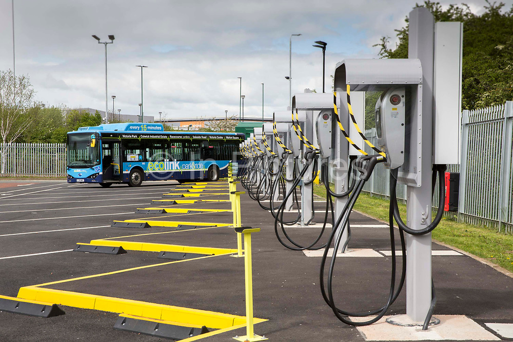 Charging points for the Ecolink zero emissions buses in the bus depot in Nottingham, Nottinghamshire, United Kingdom. Using electric buses is part of Nottingham City Council's campaign to reduce noise and air pollution.