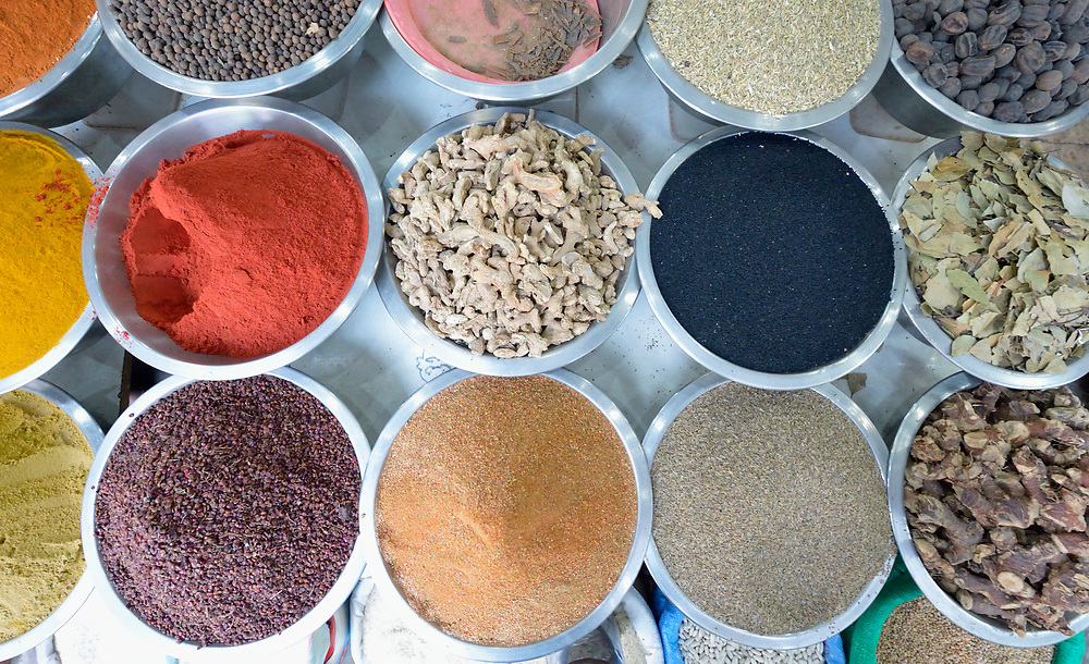Spices on sale in the Zeitoun neighborhood of Gaza City, Gaza. Residents of the Palestinian territory are still reeling from the death and destruction of the 2014 war with Israel, and the continuing siege of the seaside territory by the Israeli military.