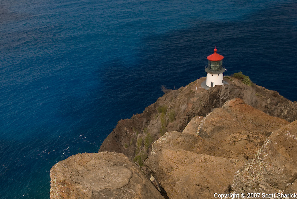 A view of Makapu'u Lighthouse on the rocks in east Oahu in the state of Hawaii
