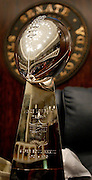 TALLAHASSEE, FL 3/13/03-The Senate Chamber is reflected on the surface of the Lombardi Trophy Thursday at the Capitol in Tallahassee. The trophy, quarterback Brad Johnson and Joel and Bryan Glazer visited with lawmakers and were honored with ceremonies in both chambers and the Cabinet.