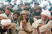Mcc0021206 . Sunday Telegraph..Local Pashtun men attending a Shura held by the District Governor and Lt Col Roli Walker at FOB Shazad in Chah e Anjir, Helmand province, Afghanistan...Helmand , 14 March  2010