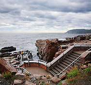A Stairway And Overlook Along The Rocky Acadia Seacoast On A Rainy And Stormy Day At Thunder Hole, Acadia National Park, Maine, USA