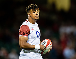 Anthony Watson of England during the pre match warm up<br /> <br /> Photographer Simon King/Replay Images<br /> <br /> Friendly - Wales v England - Saturday 17th August 2019 - Principality Stadium - Cardiff<br /> <br /> World Copyright © Replay Images . All rights reserved. info@replayimages.co.uk - http://replayimages.co.uk