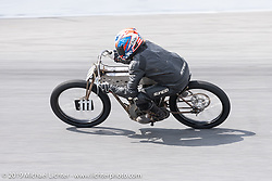 Mark Hanna racing his 61 ci board track style racer in the Sons of Speed Vintage Motorcycle Races at New Smyrina Speedway. New Smyrna Beach, USA. Saturday, March 9, 2019. Photography ©2019 Michael Lichter.