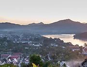 High angle view of the Mekong River and Luang Prabang, Laos, from Mount Phousi.