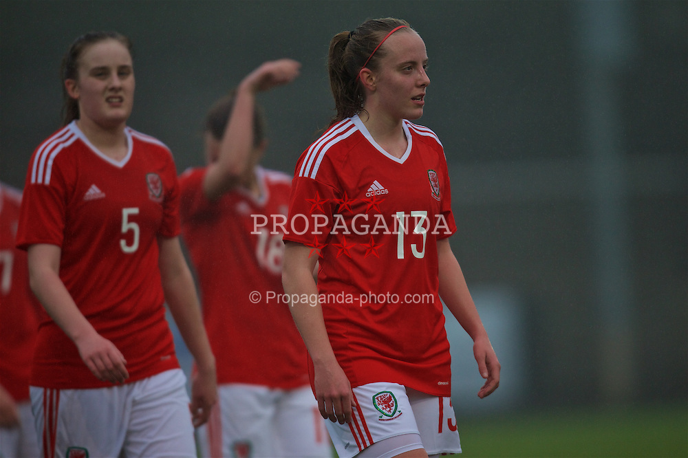 MERTHYR, WALES - Tuesday, February 14, 2017: Wales' Emily Poole looks dejected after her side's 4-1 defeat to Hungary during a Women's Under-17's International Friendly match at Penydarren Park. (Pic by Laura Malkin/Propaganda)