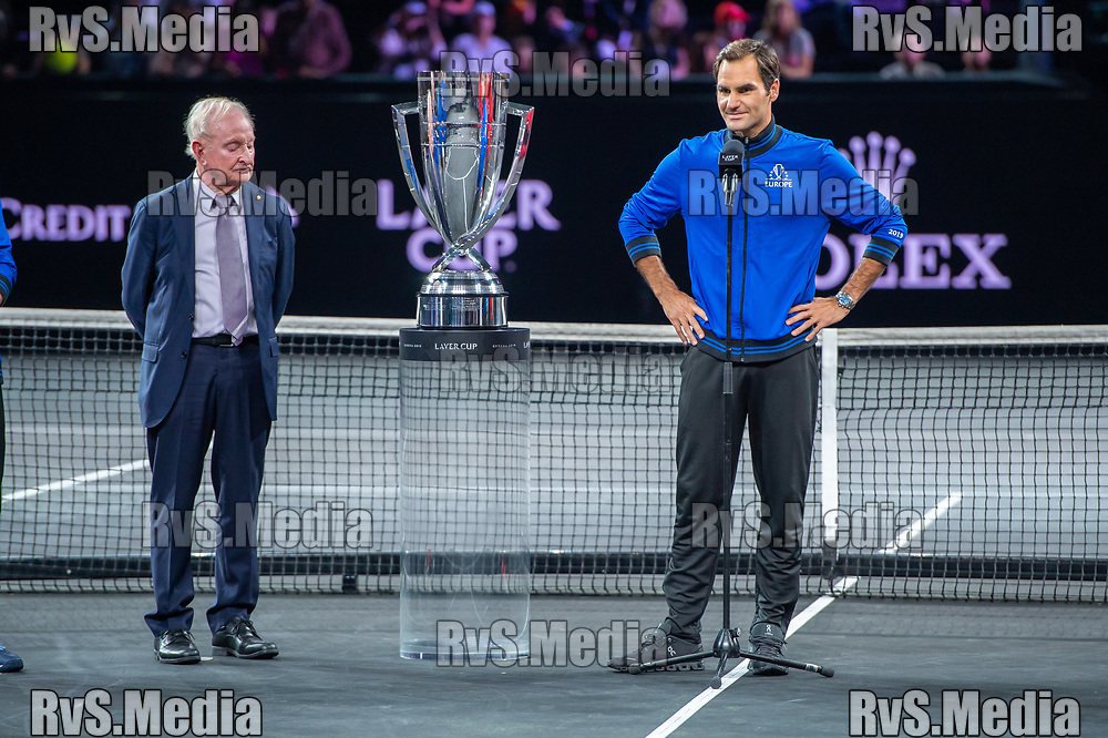 GENEVA, SWITZERLAND - SEPTEMBER 22: Roger Federer of Team Europe speaks during Day 3 of the Laver Cup 2019 at Palexpo on September 20, 2019 in Geneva, Switzerland. The Laver Cup will see six players from the rest of the World competing against their counterparts from Europe. Team World is captained by John McEnroe and Team Europe is captained by Bjorn Borg. The tournament runs from September 20-22. (Photo by Robert Hradil/RvS.Media)