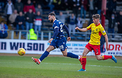 Dundee's Kane Hemmings scoring their second goal, past Partick Thistle's James Penrice. half time : Dundee 2 v 0 Partick Thistle, Scottish Championship game played 8/2/2020 at Dundee stadium Dens Park.