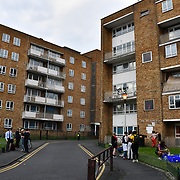 Sisters Uncut solidarity with the remaining two tenants in the Marian Court. One an Asian lady born in UK bullyed by council was threaten demonic word at intentional homeless. If they don't take the offer sending her and family to Timbuktu. She is intentional homeless. She feel vulnerable and scared a place she don't have any family and friends supports her and the rising of fascism against women wearing burka and hijab. The second is white. in fact, Marian Court is her saves housing protect her from her violent partner and the council offer a replacement house near her violent partner. If she refuse the council will bully her as intentional homeless. The council been useing the demonic strategy intentional homeless have killed thousands homeless die on the street with no responsible and is back by the UK democracy, human rights and freedom law. Photo taken on 1st August 2019, London, UK.