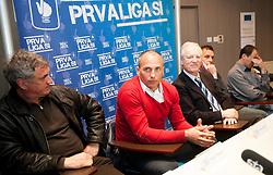 Bojan Prasnikar, Darko Milanic, Branko Florjanic during press conference of 1st SNL PrvaLiga, on February 29, 2012 in Koper, Slovenia.  (Photo By Vid Ponikvar / Sportida.com)