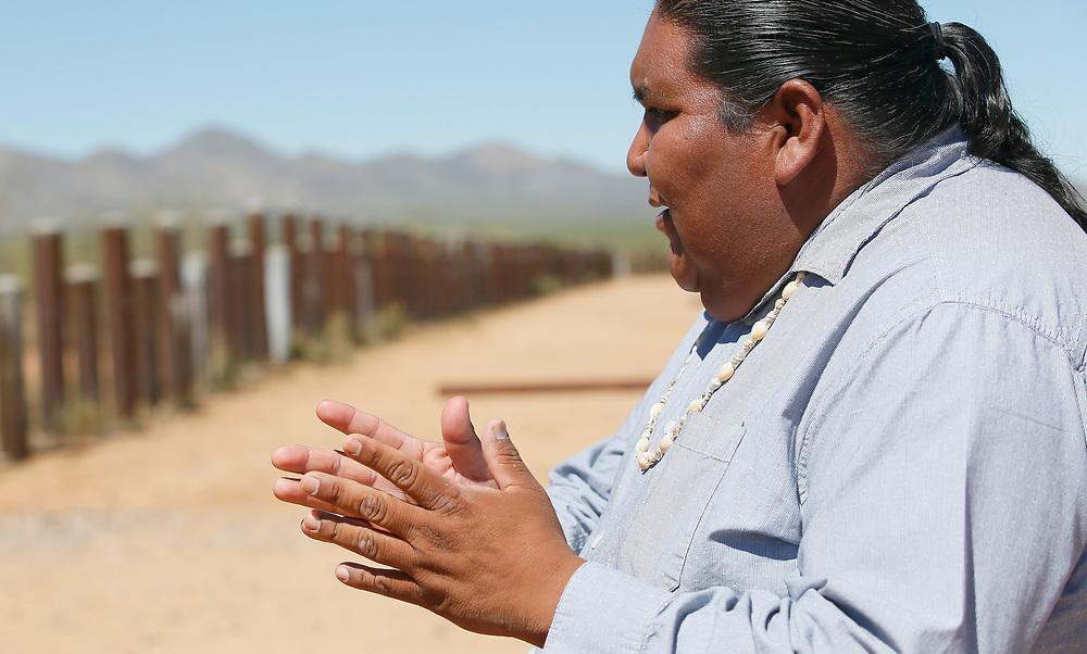 Verlon Jose, vice-chairman of the Tohono O'odham Nation, talks with reporters on the U.S. - Mexico border on the Tohono O'odham reservation in Chukut Kuk, Arizona April 6, 2017. Picture taken April 6, 2017.  REUTERS/Rick Wilking