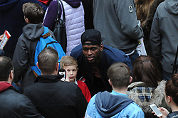 Bristol City's Jay Emmanuel-Thomas has his photograph taken with a young fan - Photo mandatory by-line: Dougie Allward/JMP - Mobile: 07966 386802 - 11/03/2015 - SPORT - Football - Bristol - Cabot Circus Shopping Centre - Johnstone's Paint Trophy
