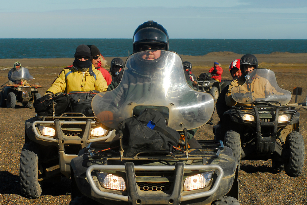 Alaska, Barrow. Anthropologists come back from the excavation site on four wheelers . July 2007