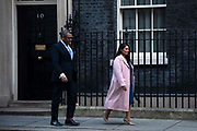 Minister without Portfolio James Cleverly and Home Secretary Priti Patel leaving a cabinet meeting in Downing Street on January 21st 2020 in London, United Kingdom.