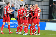 Jordan Bowery of Oxford Utd ® celebrates with his teammates after he scores his teams 1st goal. Skybet football league two match, Newport county v Oxford Utd at Rodney Parade in Newport, South Wales on Tuesday 19th April 2016.<br /> pic by Andrew Orchard, Andrew Orchard sports photography.