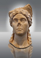 Roman portrait head of a women wearing a priestess crown. Found in Aphrodisias Theatre. First Century AD. Aphrodisias Archaeology Museum Turkey .<br /> <br /> If you prefer to buy from our ALAMY STOCK LIBRARY page at https://www.alamy.com/portfolio/paul-williams-funkystock/greco-roman-sculptures.html . Type -    Aphrodisias     - into LOWER SEARCH WITHIN GALLERY box - Refine search by adding a subject, place, background colour, museum etc.<br /> <br /> Visit our ROMAN WORLD PHOTO COLLECTIONS for more photos to download or buy as wall art prints https://funkystock.photoshelter.com/gallery-collection/The-Romans-Art-Artefacts-Antiquities-Historic-Sites-Pictures-Images/C0000r2uLJJo9_s0