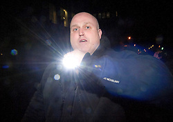 © licensed to London News Pictures. London, UK. 30/01/12. A Bailiff  who allegedly assaulted a press photographer following the eviction of Occupy London protesters from a UBS building. He is believed to have been later arrested and charged with Assault & Criminal Damage. Photo credit: Jules Mattsson/LNP