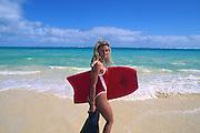 Bodyboarding, Lanikai Beach, Oahu, Hawaii<br />