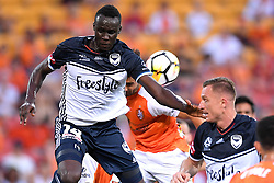 December 17, 2017 - Brisbane, QUEENSLAND, AUSTRALIA - Thomas Deng of Melbourne Victory (14, left) competes for the ball during the round eleven Hyundai A-League match between the Brisbane Roar and the Melbourne Victory at Suncorp Stadium on Sunday, December 17, 2017 in Brisbane, Australia. (Credit Image: © Albert Perez via ZUMA Wire)