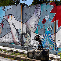 Central America, Cuba, Havana. Mural of Muraleando neighborhood.