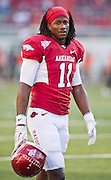 Arkansas wide receiver Cobi Hamilton (11) walks on the field before the start of an NCAA college football game against Auburn on Saturday, Oct. 8, 2011, in Fayetteville, Ark. (AP Photo/Beth Hall)