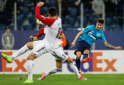 November 23, 2017 - Saint Petersburg, Russia - Emiliano Rigoni (R) of FC Zenit Saint Petersburg shoots to score a goal during the UEFA Europa League Group L match between FC Zenit St. Petersburg and FK Vardar at Saint Petersburg Stadium on November 23, 2017 in Saint Petersburg, Russia. (Credit Image: © Mike Kireev/NurPhoto via ZUMA Press)