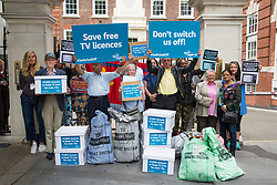 London, UK. 17 July, 2019. Campaigners from Age UK and Lewisham Pensioners Forum hand in more than 30,000 letters calling on the Government to reverse the axing of free TV licences for over-75s at the headquarters of the Conservative Party. Credit: Mark Kerrison/Alamy Live News
