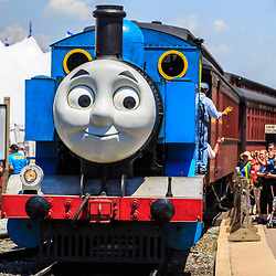 Strasburg, PA – June 18, 2016: Thomas the Tank Engine chugs into the train station in Strasburg.