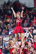 AFC Bournemouth cheerleaders perform during the pre-match warm up, during the Skybet Championship match, AFC Bournemouth v Blackburn Rovers at The Goldsands Stadium in Bournemouth, England on Saturday 28th September 2013. Picture by Sophie Elbourn/Andrew Orchard Sports Photography.