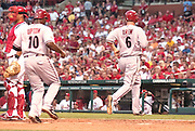 08 July 2011           Arizona Diamondbacks shortstop Stephen Drew (6) and Arizona Diamondbacks right fielder Justin Upton (10) head towards home plate in the fourth inning after a triple to deep center left field by Arizona Diamondbacks center fielder Chris Young. The Arizona Diamondbacks beat the St. Louis Cardinals 7-6 in the second game of a four game series on Friday July 8, 2011 at Busch Stadium in downtown St. Louis.