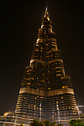 The famous Burj Khalifa, the tallest building in the world, as of 2021 in Dubai, United Arab Emirates at night