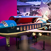 Airplane coffin by artist Paa Joe of Ghana (1997) on display in an exhibit on African culture at the Smithsonian National Museum of Natural History on the National Mall in Washington DC.