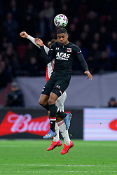 Myron Boadu #9 of AZ Alkmaar in action during the Dutch Eredivisie match round 25 between Ajax Amsterdam and AZ Alkmaar at the Johan Cruijff Arena on March 01, 2020 in Amsterdam, Netherlands