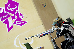 Leopold Rupp of Germany competes in the Men's R5-10m Air Rifle Prone shooting Qualifications during Day 4 of the Summer Paralympic Games London 2012 on September 1, 2012,  in Royal Artillery Barracks, London, Great Britain. (Photo by Vid Ponikvar / Sportida.com)