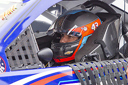 June 10, 2018 - Brooklyn, Michigan, U.S - NASCAR driver BUBBA WALLACE JR. (43) sits in his car before the 50th Annual FireKeepers Casino 400 at Michigan International Speedway. (Credit Image: © Scott Mapes via ZUMA Wire)