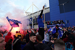 Leicester City fans celebrate victory in the FA Cup Final outside the King Power Stadium, Leicester. Picture date: Saturday May 15, 2021.