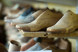 Close-up of wooden shoe stretchers, Freiburg im Breisgau, Baden-Wuerttemberg, Germany