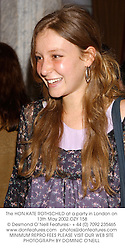The HON.KATE ROTHSCHILD at a party in London on 13th May 2002.OZY 158