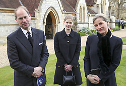 File photo dated 11/04/21 of the Earl and Countess of Wessex, with their daughter Lady Louise Windsor. The Duke of Edinburgh's title will eventually pass on to his youngest son the Edward, but not until after the death of the Queen. Issue date: Friday April 16, 2021.